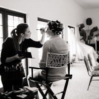 Make-up artist and the brides maides getting ready at the Montecito Country Club.