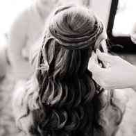 Bride having her hair done, Montecito.