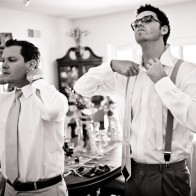Groom and best-men getting ready at home, Santa Barbara Wedding Photography.