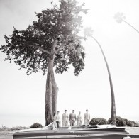 Groom and Grooms-men portrait with vintage car and palm trees, Santa Barbara.