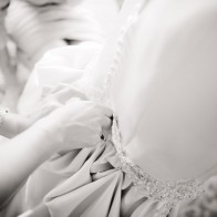Detail of wedding gown while getting ready in Santa Barbara.