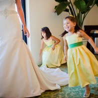 Kids running around bride, Montecito Wedding Photographer.