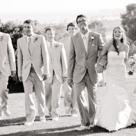 Group portrait of wedding party on the grounds of Montecito Country Club.