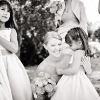 Laughing and congratulations after wedding, Santa Barbara.