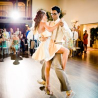 Wedding couple dancing a tango at the Montecito Country Club.