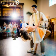 Couple dancing a tango at their wedding at the Montecito Country Club.