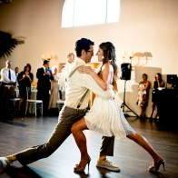 Bride and Grooms tango at their wedding, Santa Barbara Wedding Photographer.