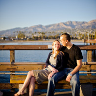 Portrait of sitting couple on the Wharf, Santa Barbara.