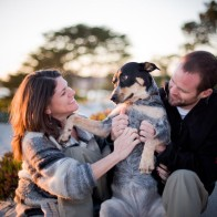Engagement session with dog.