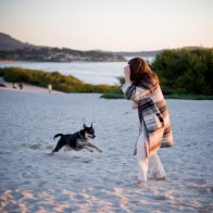 Playing with the pup during engagement session.
