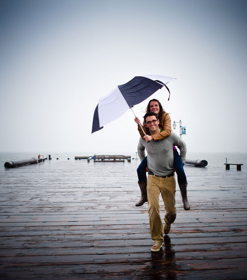 Engagement portraits in the rain by the best Santa Barbara wedding Photograher.
