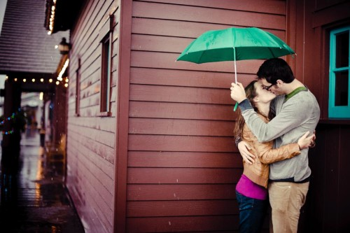 Couple portraits in rain storm.