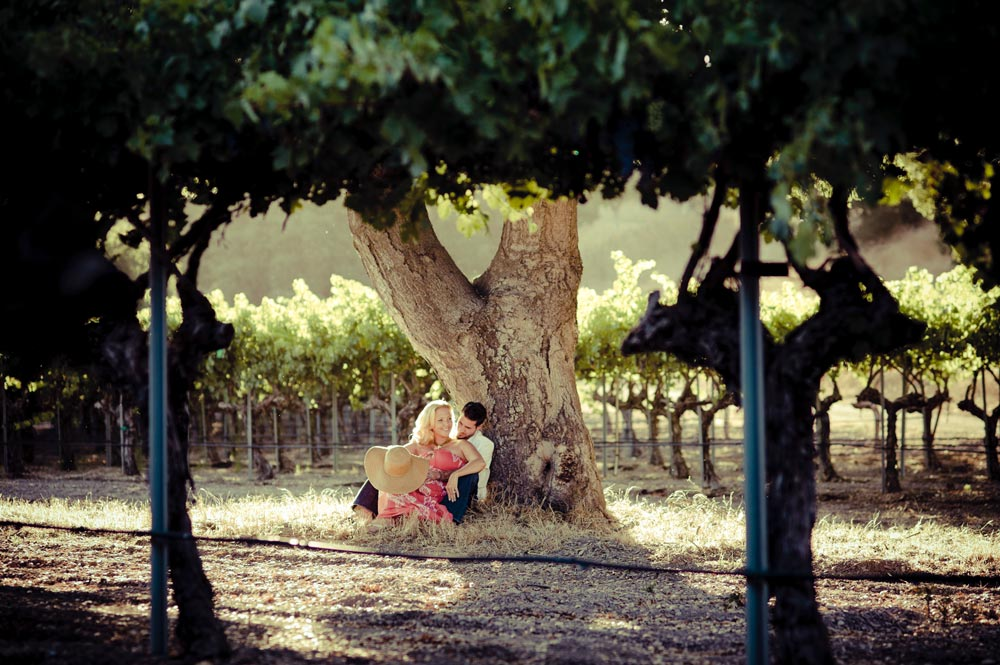 Engaged couple in the vineyard, Firestone Winery, Santa Ynez.