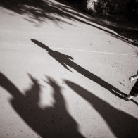 fun shadow picture of child walking.
